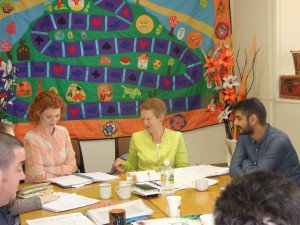 Hilary Harmon, Pavee Point; Nuala Kelly, 'Counting Us In' Co-Ordinator; Alex Petrovics, Roma Enniscorthy at 'Counting Us In' meeting.