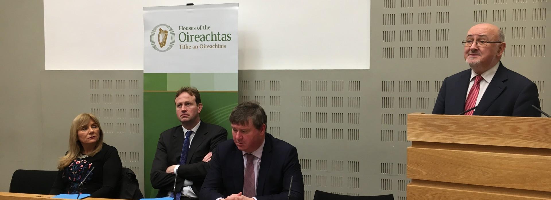 Senator Frances Black, Jim O  Callaghan  TD, Senator Martin Conway and Committee Chairperson Caoimhghín O Caoláin at report launch.