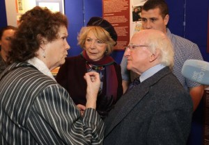 Guest of Honour President of Ireland, Michael D. Higgins and his wife Sabina, here speaking to Missie Collins. ©Photo by Derek Speirs