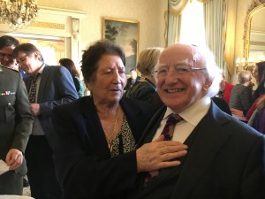 Molly Collins and President Michael D. Higgins.