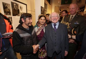 Guest of Honour President of Ireland, Michael D. Higgins and his wife Sabina. Here the President with a Roma couple. ©Photo by Derek Speirs.