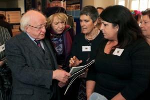 President Michael D. Higgins and his wife Sabina with Co Director Ronnie Fay and Assistant Primary Health Care Co-Ordinator Mary Bridget Collins.