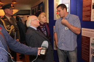 President Michael D. Higgins and his wife Sabina speak with Men's Health Worker Michael Collins.