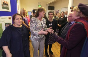 Tessa Collins talks to the President Michael D. Higgins and his wife about or Violence Against Women Project.
