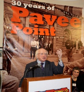 President Michael D. Higgins delivering his speech.