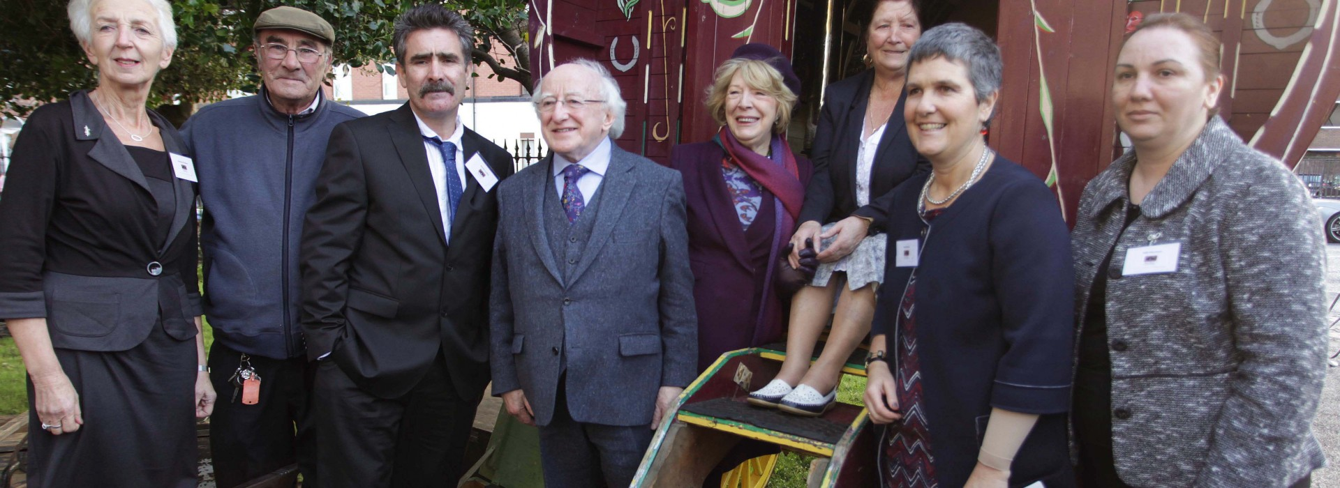 18.11.15. Dublin. Pavee Point Traveller & Roma Centre 30th Anniversary Event, attended by Guest of Honour, President of Ireland, Michael D. Higgins and his wife Sabina, here with L to R, Stasia Crickley Chairperson Pavee Point, James Collins Tinsmith, Martin Collins Co-Director Pavee Point, Molly Collins, Ronnie Fay Co-Director Pavee Point and Gabi Muntean. ©Photo by Derek Speirs