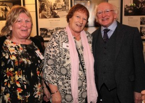 Maggie McDonnell and Bridgie Collins with President Michael D. Higgins.