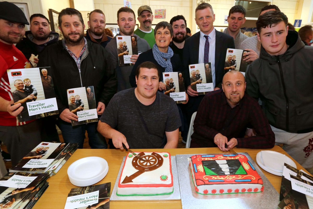 Cutting the cake for Traveller men's health. (LtoR) Michael Keenan, Paul Stokes, Davy McDonagh, Johnny McDonnell,  John Collins, Rory O'Bryne, Ronnie Fay, John Paul Collins, Fergal Fox, Martin Reilly and Richard O'Leary with Michael Collins and Patrick Reilly cutting the cakes. ©Photo by Derek Speirs.