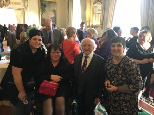 (L to R) Tracey Reilly, Rosaleen McDonagh, President Michael D. Higgins and Ronnie Fay.