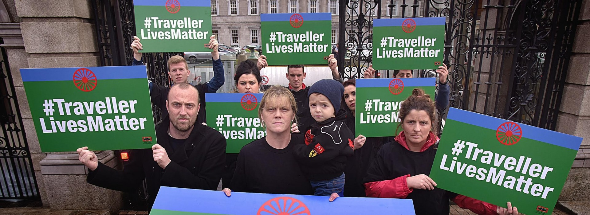11-11-15Members of the travelling Community at the handing in of a petition by Pavee Point at Dail Eireann today.                Pic Tommy Clancy - No Fee.