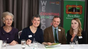 Anastasia Crickley, CERD; Ronnie Fay, Pavee Ppoint; Andrew Millard, NHS  Scotland and Lynsey Kavanagh, Pavee Point at Ethnic Data Seminar on International Day Against Racism 2016. ©Photo by Derek Speirs