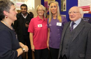 Jilynn McLoughlin and Ann McDonnell of Early Learning Initiative  and  with President Michael D. Higgins.