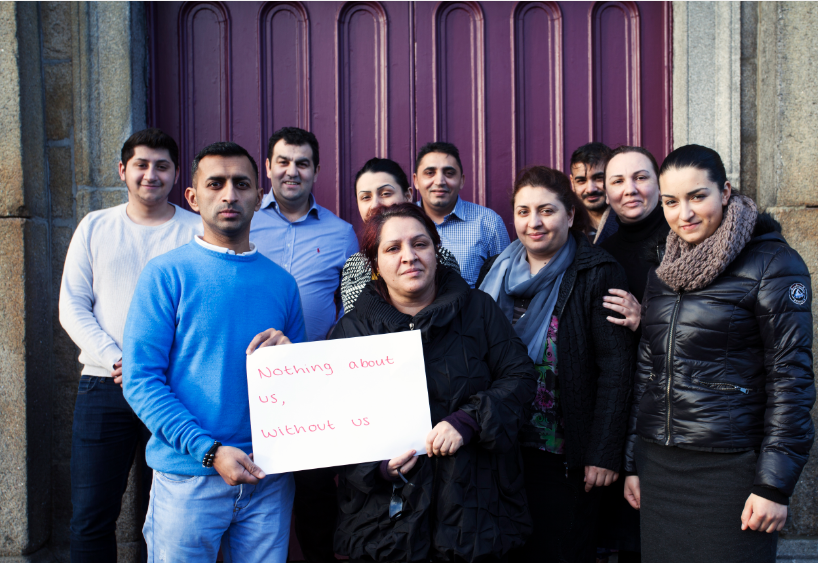 Roma peer researchers after completing interviews with Roma households throughout Ireland.  ©Photo by Alison McDonnell