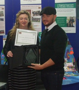 Johnny Maughan receives the award for Tallaght Travellers.