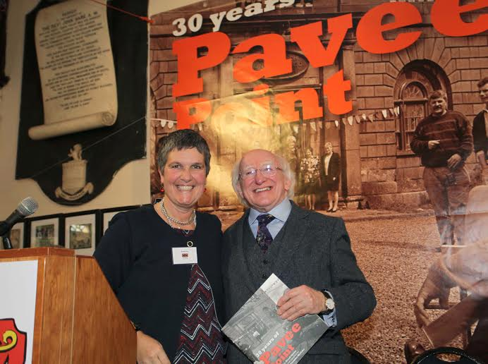 18.11.15. Dublin. Pavee Point Traveller & Roma Centre 30th Anniversary Event, attended by Guest of Honour President of Ireland, Michael D. Higgins and his wife Sabina. Here Ronnie Fay Co-Director Pavee Point presents the President with the book '30 Years of Pavee Point'. ©Photo by Derek Speirs