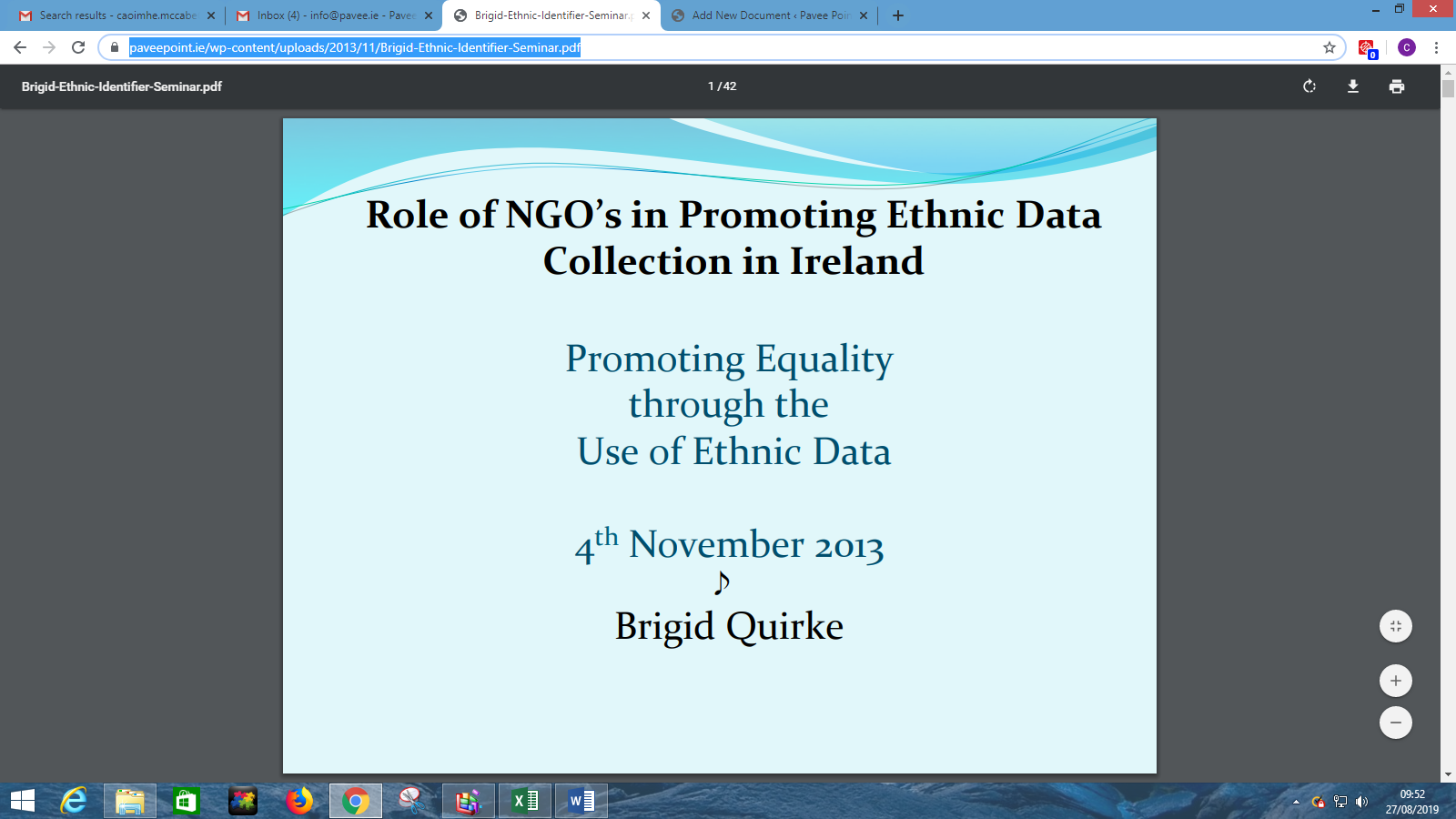 Brigid Quirke Presentation at Pavee Point/Maynooth University Seminar on Data Collection 2013