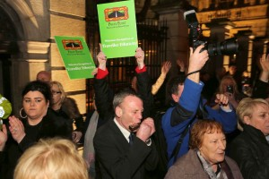 Media and music outside Dáil at historic statement. ©Photo by Derek Speirs