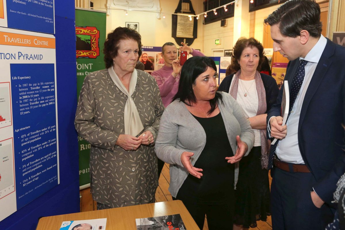 Mary Brigid Collins speaking about the work of the PHCTP with Minister for Health, Simon Harris ©Photo by Derek Speirs