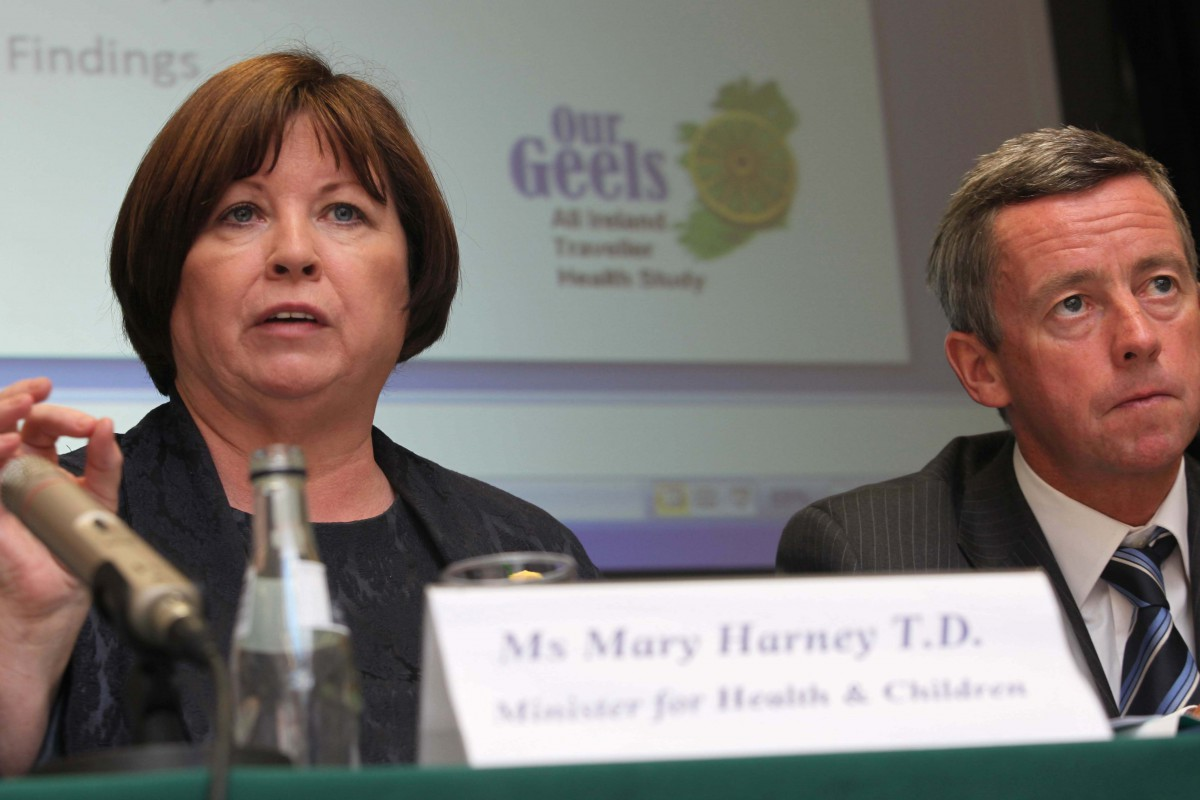 Launch of 'Our Geels' The All Ireland Traveller Health Study. Main speakers at the launch were;  Prof. Cecily Kelleher UCD, Dr Liz Mitchell Dep. Chief Medical Officer DHSSPS NI, Mary Harney TD, Minister for Health & Children, Dr Philip Crowley Dep. Chief Medical Officer Dept. of Health & Children, Missie Collins Traveller Primary Health Worker and Biddy O'Neill Assnt.Nat.Dir. for Health Promotion HSE. ©Photo Derek Speirs.