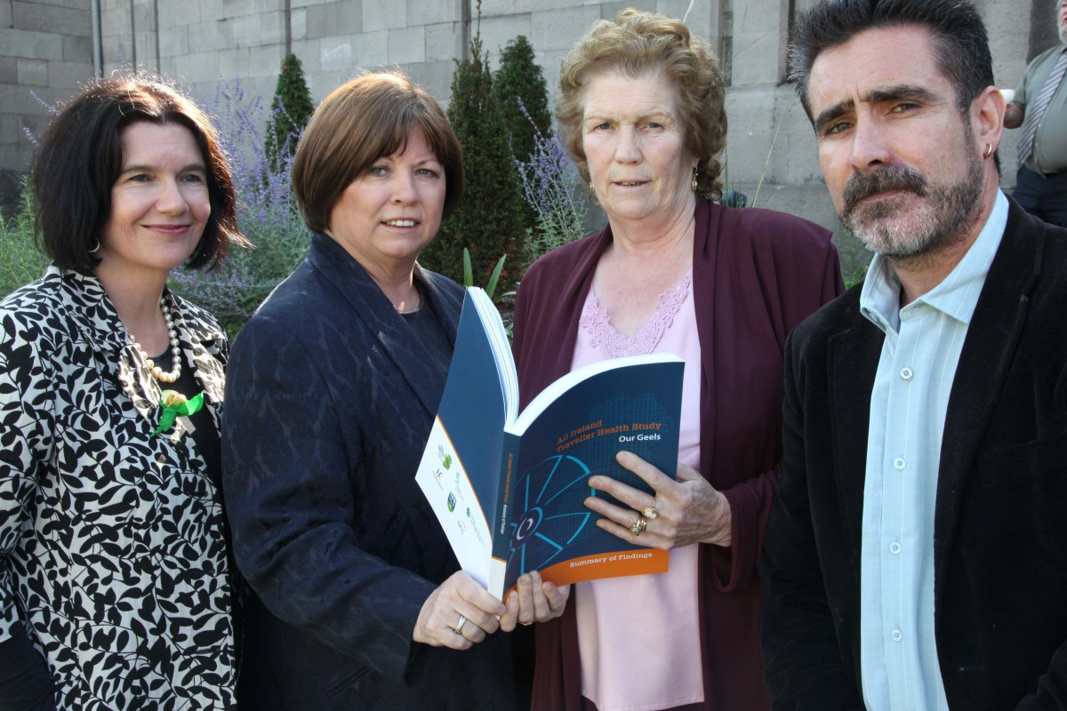 Launch of 'Our Geels' The All Ireland Traveller Health Study. Here L to R; Professor Cecily Kelleher UCD, Mary Harney TD, Minister for Health & Children, Missie Collins, Pavee Point Primary Health Care Project and Martin Collins Acting Director Pavee Point. ©Photo Derek Speirs.