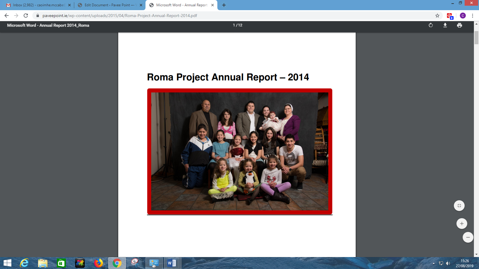 Roma Project Annual Report 2014