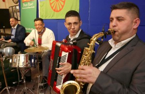 Musicantia musicians celebrating International Roma and Traveller Day at Pavee Point Traveller and Roma Centre. ©Photo by Derek Speirs