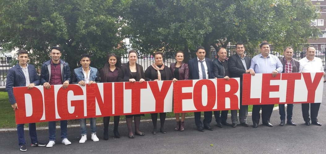 Roma community members in Ireland campaigning for the removal of a pig farm from the site of a Roma concentration camp in Lety, Czech Republic.