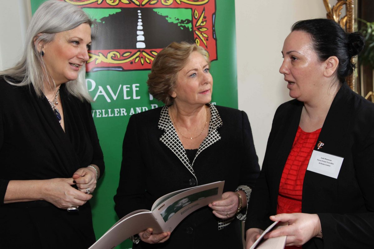 Realising Roma Children's Rights Conference.  HE Mrs. Manuela Breazu Ambassador Extraordinary and Plenipotentiary of Romania to Ireland, Minister Frances Fitzgerald and Gabi Muntean, Pavee Point. ©Photo by Derek Speirs