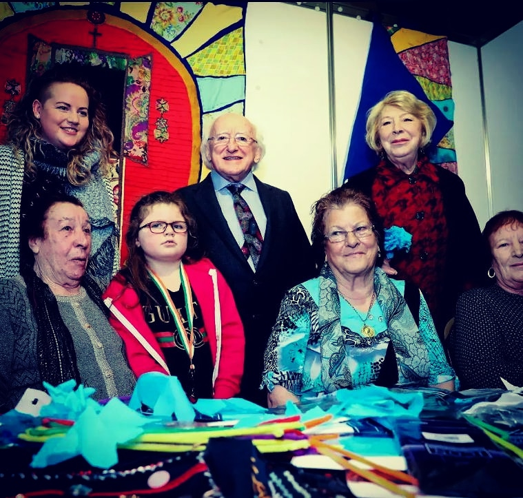 PHCTP Coordinator, Aoife Mallon with Primary Health Care Workers, Biddy, Bridgy and Sheila meeting President Higgins and Mrs. Higgins at the Recognition of Traveller Ethnicity Celebration