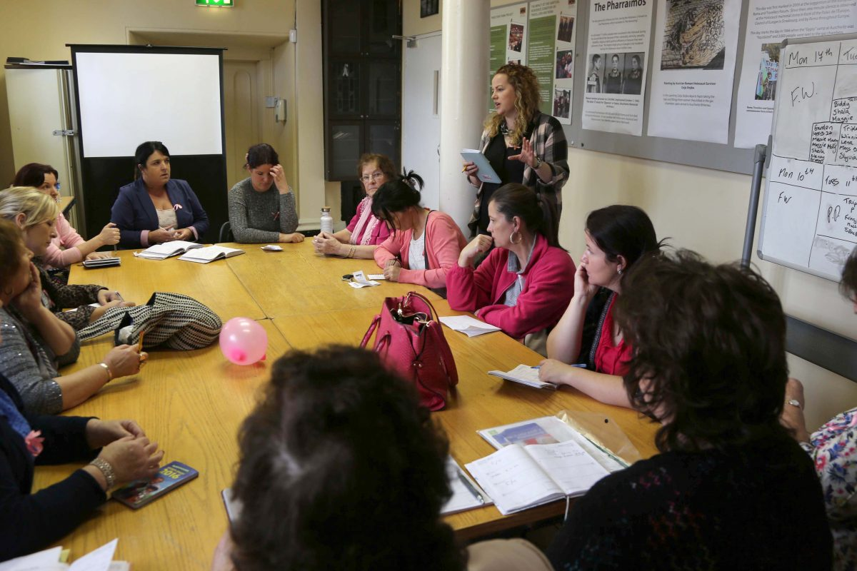 PHCTP Coordinator Aoife Mallon facilitating a session on breast cancer awareness ©Photo by Derek Speirs.