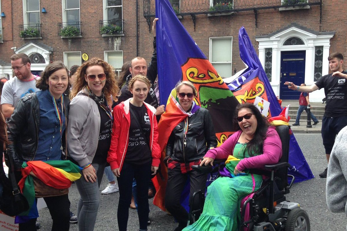 Pavee Point staff and Board Members marching at Dublin LGBTQI Pride