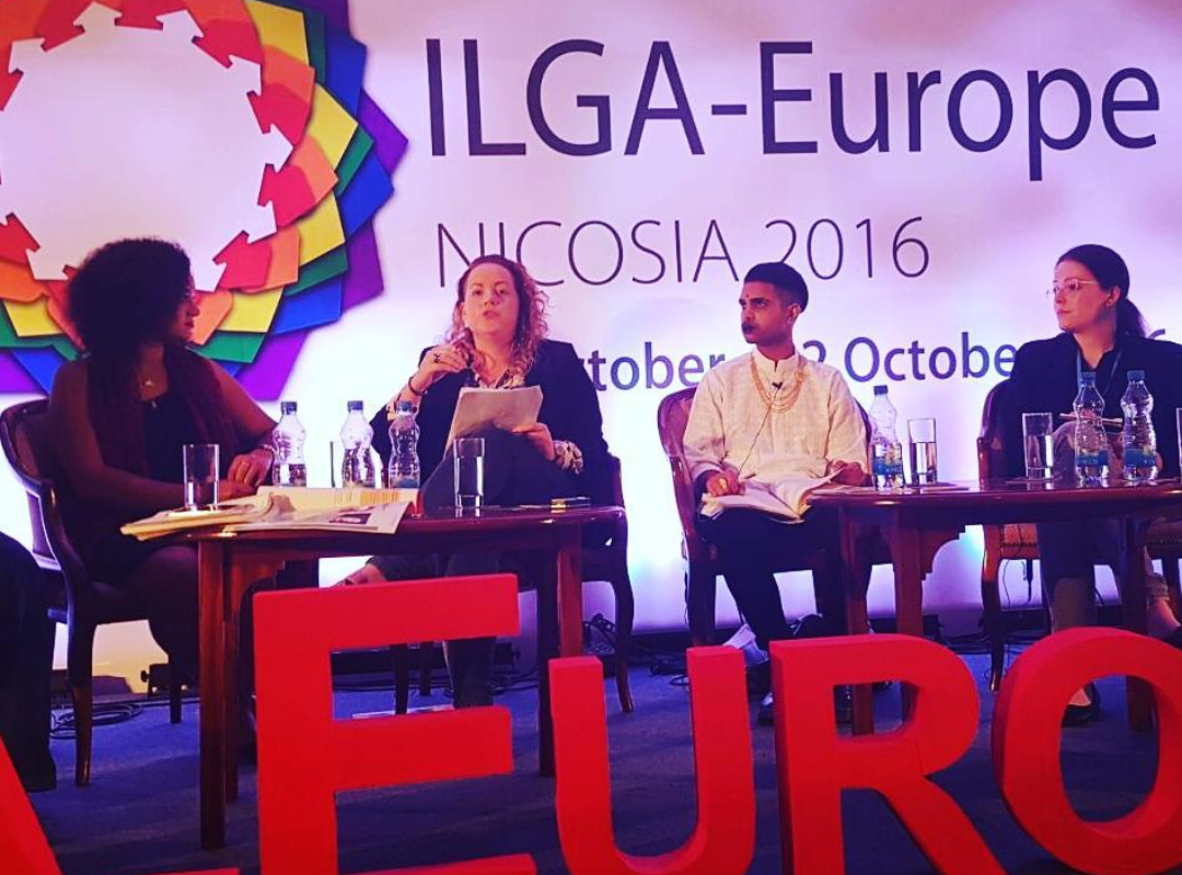 Aoife Mallon speaking about intersectionality and the need for greater Traveller and Roma inclusion at ILGA-Europe