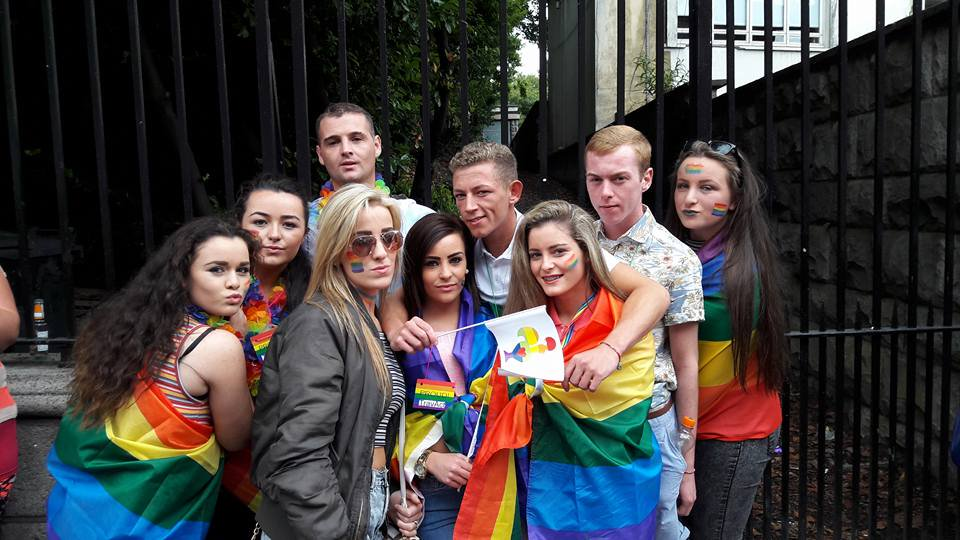 Group at coffee and tea morning in Pavee Point before marching in Dublin LGBTQI Pride