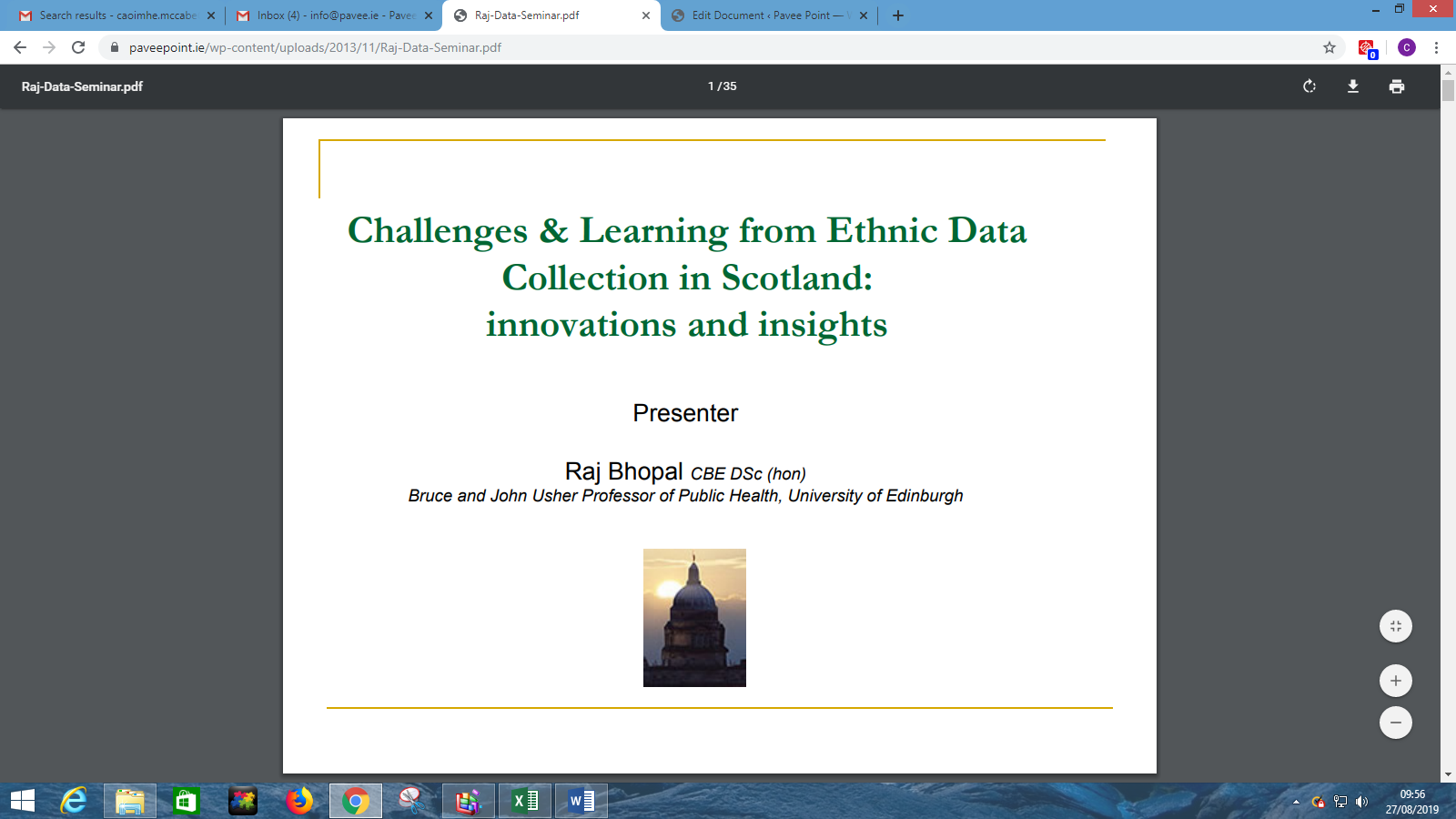 Presentation Raj Bhopal at Pavee Point/Maynooth University Ethnic Data Collection Conference 2013