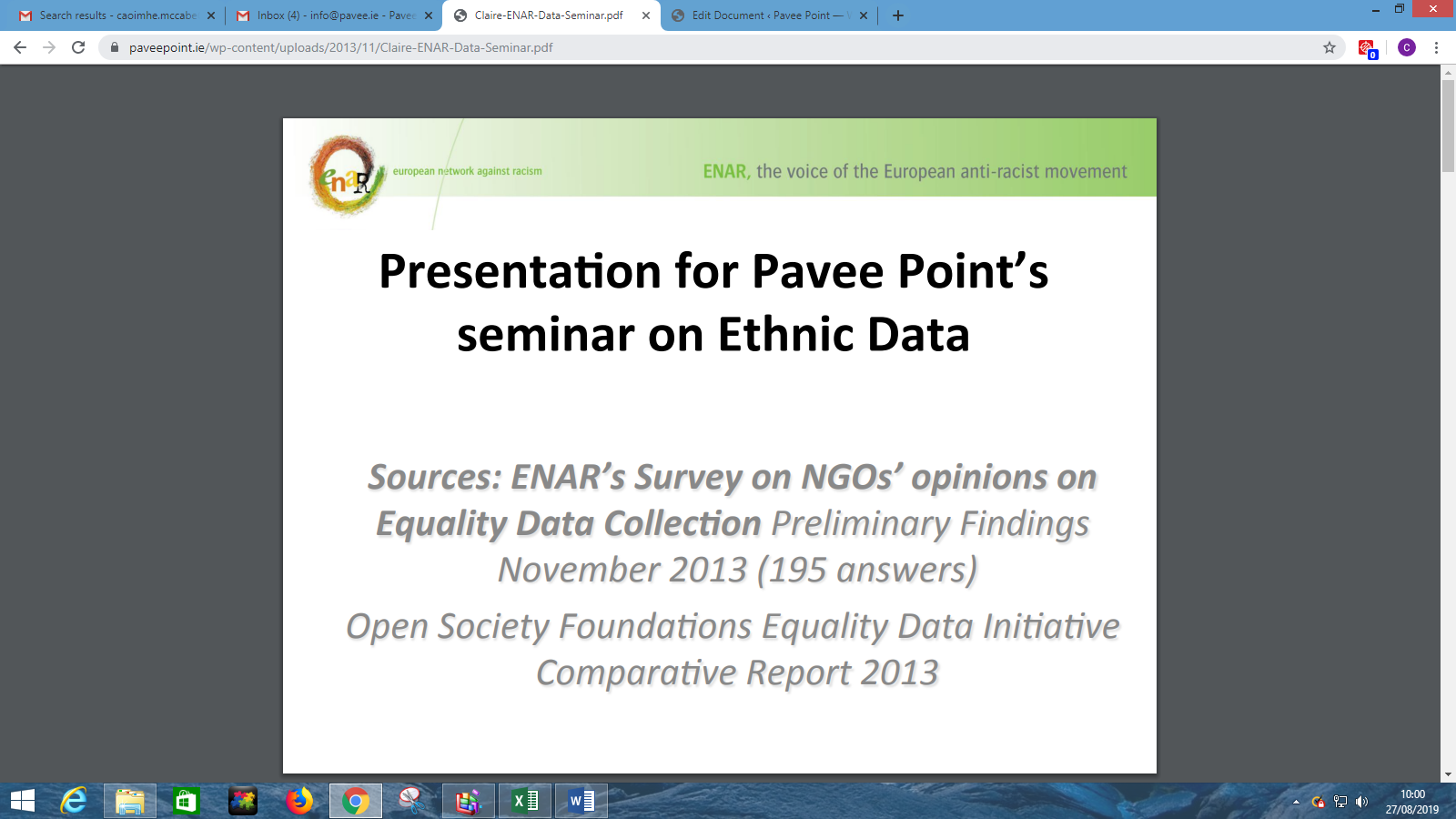 Claire Fernandez (ENAR) Presentation Pavee Point/ Maynooth University Seminar on Ethnic Data Collection 2013