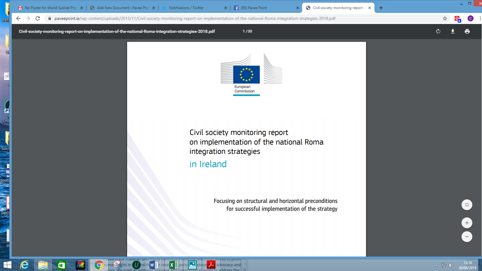 Civil Society Monitoring Report on Implementation of the National Roma Integration Strategies in Ireland, 2018