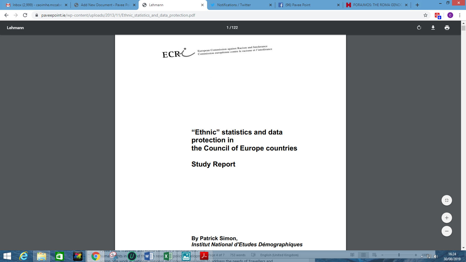 Ethnic Statistics and Data Protection in the Council of Europe countries - ECRI