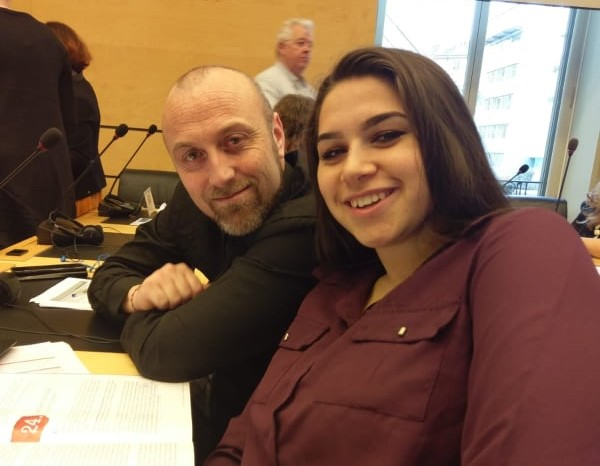 Patrick Reilly, Mental Health Worker with Bianca Paun, Roma Programme speak about health inequalities at UN Convention on the Elimination of Racial Discrimination.